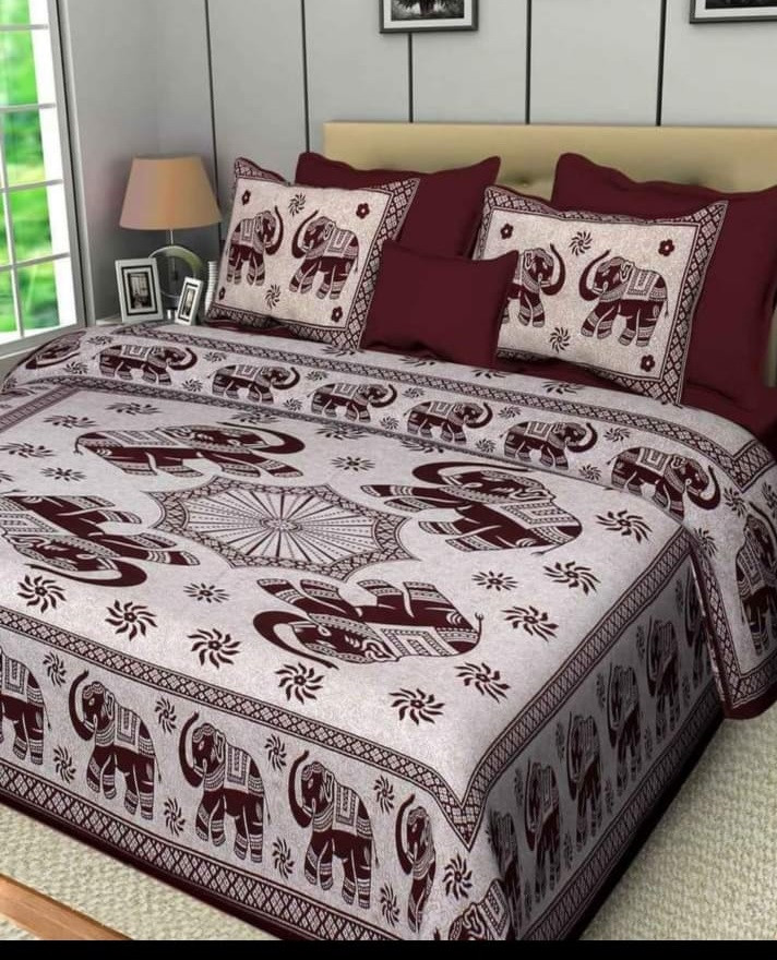 Jaipuri Prints Cotton Bed Sheet For, What Size Is A Double Bed Sheet In Inches